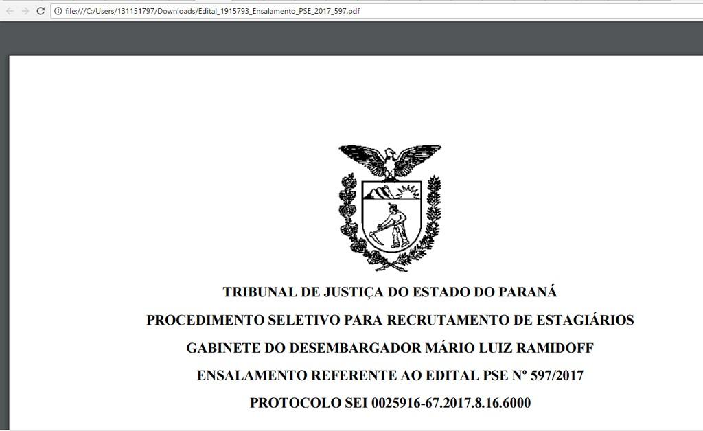 Teste Seletivo - Estgio de Direito no Tribunal de Justia